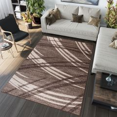 SARI Modern Area Rug Contemporary Curve Wavy Abstract Brown