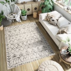 ETHNO Area Rug Short Pile Ethnic Flecked Durable Carpet Cream