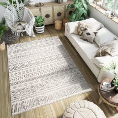 ETHNO Area Rug Short Pile Ethnic Tribal Berber Flecked Cream