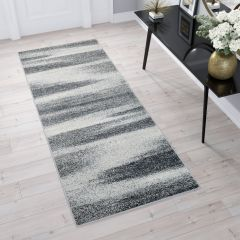 SARI Runner Carpet Modern Hallway Blurred Abstract  Light Grey