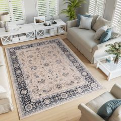 COLORADO Traditional Area Rug Floral Timeless Light Beige