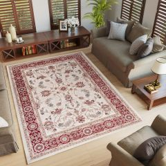 COLORADO Traditional Area Rug Timeless Frame Floral Cream Red