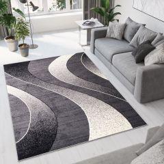DREAM Teppich Kurzflor Modern Dunkelgrau Creme Streifen Meliert