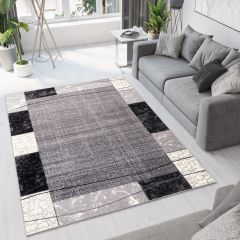 DREAM Area Rug Modern Short Pile Designer Frame Geometric Grey