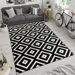 MAROKO Area Rug Modern Short Pile Diamond Geometric Black Cream