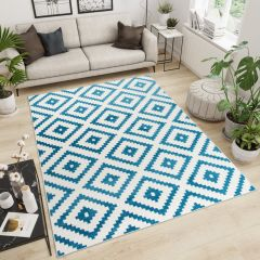 MAROKO Teppich Kurzflor Modern Geometrisch Karo Blau Creme