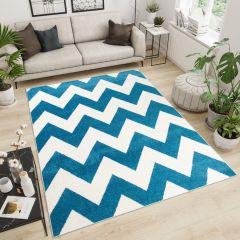 MAROKO Teppich Kurzflor Modern Geometrisch Streifen Creme Blau