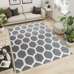 MAROKO Area Rug Modern Short Pile Geometric Grey Cream