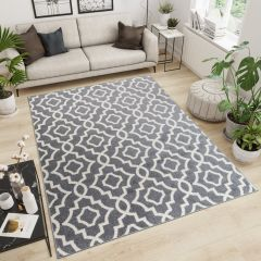 MAROKO Area Rug Modern Short Pile Geometric Mosaic Grey Cream
