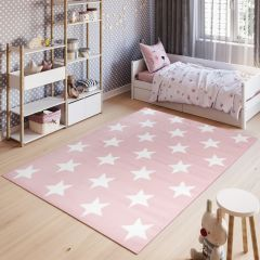 PINKY Kids Area Rug Children Room Short Pile White Stars Pink