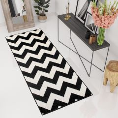 MAROKO Tapis de Passage Moderne Zigzags Blanc Noir