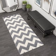 MAROKO Modern Carpet Runner Hallway ZigZag Grey Cream