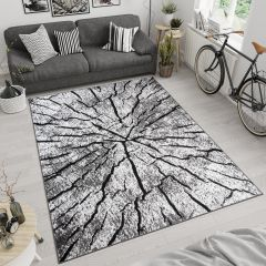 LUXURY Modern Area Rug Short Pile Wooden Forest Grey White