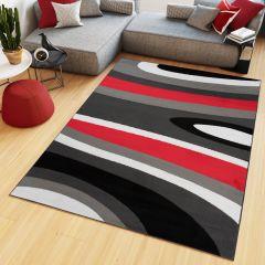 MAYA Area Rug Modern Short Pile Waves Lines Designer Grey Red