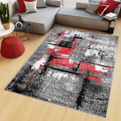 MAYA Modern Area Rug Short Pile Abstract Flecked Grey Red