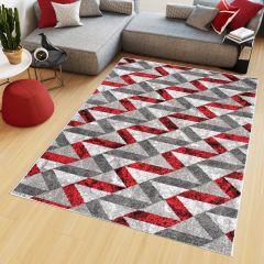 Maya Teppich Modern Grau Creme Rot Geometrisch Meliert