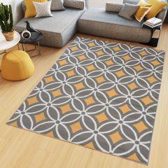 Maya Teppich Kurzflor Gelb Grau Weiß Modern Geometrisch Mosaik