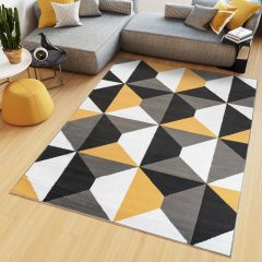 MAYA Area Rug Modern Short Pile Geometric Shapes Grey Yellow