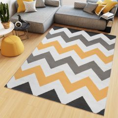 MAYA Area Rug Modern Short Pile ZigZag Geometric Grey Yellow