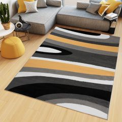 MAYA Area Rug Modern Short Pile Waves Lines Designer Grey Yellow