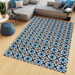 Maya Teppich Kurzflor Modern Blau Grau Schwarz Floral Mosaik