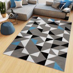 Maya Teppich Kurzflor Grau Weiß Blau Modern Geometrisch Dreiecke