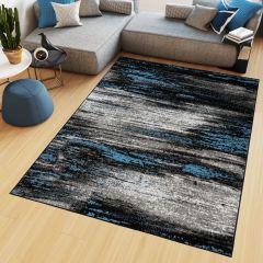 MAYA Area Rug Modern Abstract Contemporary Short Pile Grey Blue