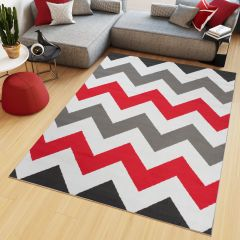 Maya Teppich Kurzflor Grau Weiß Rot Modern Geometrisch Zig Zag