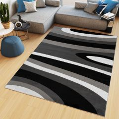 MAYA Area Rug Modern Short Pile Waves Lines Designer Grey Black