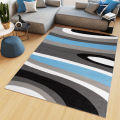 MAYA Area Rug Modern Short Pile Waves Lines Designer Grey Blue