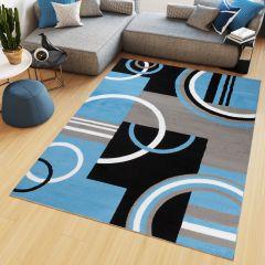 MAYA Vloerkleed Grijs Blauw Abstract Cirkels Eyecather Design
