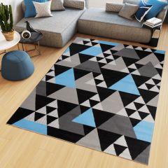 MAYA Vloerkleed Grijs Blauw Abstract Eyecather Driehoeken Design