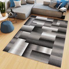 Maya Teppich Kurzflor Modern Design Schwarz Grau Creme Meliert