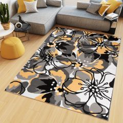 MAYA Area Rug Modern Short Pile Designer Flowers Yellow Grey