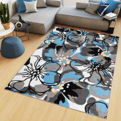 MAYA Area Rug Modern Short Pile Designer Flowers Blue Grey