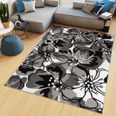 MAYA Vloerkleed Grijs Wit Abstract Eyecather Bloemen Modern