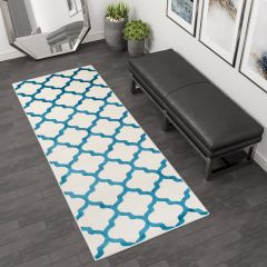 MAROKO Läufer Teppich Kurzflor Modern Marokkanisch Creme Blau