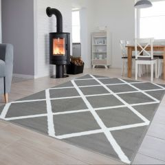 LUXURY Area Rug Modern Short Pile Geometric Light Grey White
