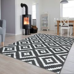 LUXURY Area Rug Modern Short Pile Diamond Dark Grey White