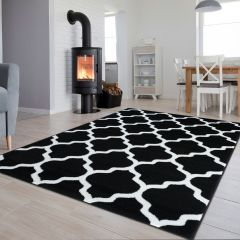 LUXURY Area Rug Modern Short Pile Trellis Moroccan Black White
