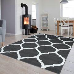 Luxury Teppich Kurzflor Marokkanisch Gitter Dunkelgrau Weiß