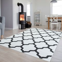 LUXURY Area Rug Modern Short Pile Trellis Moroccan White Grey