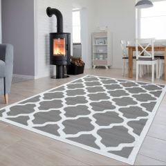 LUXURY Area Rug Modern Short Pile Moroccan Trellis Grey White
