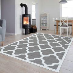 LUXURY Tapis Moderne Treillis Marrocain Bordé Blanc Gris Fin