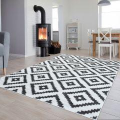 Luxury Teppich Kurzflor Weiß Grau Modern Geometrisch Gitter Karo