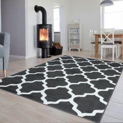 Luxury Teppich Kurzflor Modern Geometrisch Gitter Grau Weiß