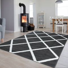 LUXURY Area Rug Modern Short Pile Geometric Dark Grey White