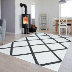 Luxury Teppich Kurzflor Weiß Grau Modern Geometrisch Karo