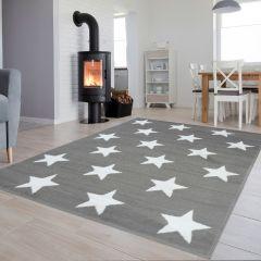 Luxury Teppich Kurzflor Kinderteppich Grau Weiß Modern Sterne