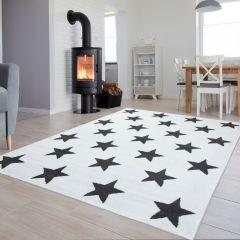 Luxury Teppich Kurzflor Weiß Grau Kinderteppich Modern Sterne